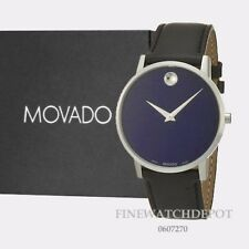 Authentic Movado Mens Museum Classic Blue Dial Stainless SteelCase Watch 0607270