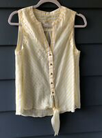 Maeve Sz 4 Yellow & White Striped Blouse Top NWOT