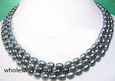 "GENUINE 3 STRANDS 7-8MM BLACK FRESHWATER PEARL NECKLACE 18""AAA"