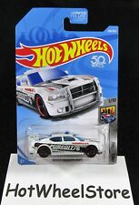 2018 Hot Wheels  White Dodge Charger Drift Metro Police  Card #208  HW-5-021718