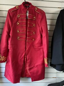 Steampunk Cherise Pink Satin Military Type Jacket With Split At The Back  2XL