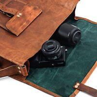 Mens leather messenger bag vintage satchel laptop shoulder bag briefcase Quality
