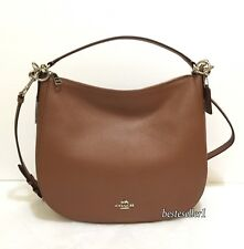 New COACH 58036 Chelsea 32 Pebbl Leather Hobo Crossby Shoulder Bag Saddle Brown