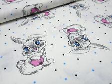 Stoff Baumwolle Popeline Hasen Pünktchen Punkte weiß rosa blau Kinderstoff