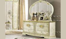 Kommode Wäschekommode Highboard 6xSchubladen Beige-Gold Hochglanz Möbel Italien