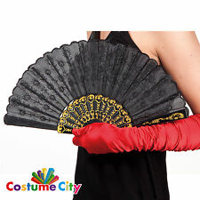 Black Spanish Lace Folding Dance Hand Fan Fancy Dress Costume Accessory