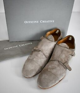 New OFFICINE CREATIVE *REVIEN 5* ARDESIA Double Monk Hand Made Shoes EU-45 US-12