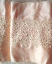 "Vintage embroidered peach satin fabric trim 11"" W doll lingerie christen bridal"