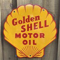 VINTAGE GOLDEN SHELL MOTOR OIL PORCELAIN METAL SIGN USA GASOLINE GAS STATION