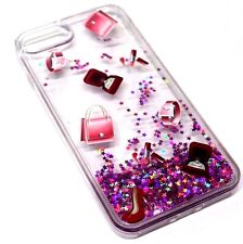 For iPhone 7 PLUS Lipstick Watch Ring Pink Purple Glitter Liquid Waterfall Case