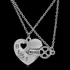 2 Pcs/Set Best Friends Letter Heart Key Silver Friendship Pendant Necklace BFF