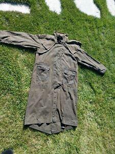 Mens L Kakadu Oilskin Waxed Australian Duster/Drover Jacket Coat Brown Vintage