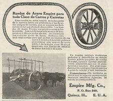 W5257 Ruota di acero per tutti i Carri EMPIRE MFG Co - Pubblicità 1913 - Advert.