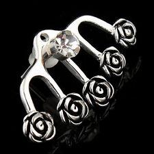 1pc Diamante Crystal Ear Cuff Silver Plated Rose Flower Ear Stud Earring W8