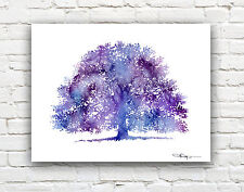 "Purple Oak Tree Abstract Watercolor Painting 11"" x 14"" Art Print by DJ Rogers"