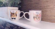 His/Her Coffee Mug - Mrs. &Mr. Cat Print