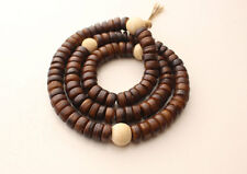 Disk Shaped Brown Yak Bone Japa Mala with White Conch Counter