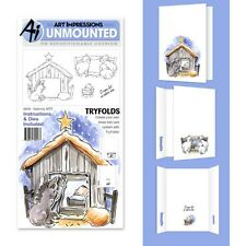 Art Impressions Mini TryFolds Stamp & Die Set-Nativity -4809