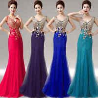 Lace V Neck Formal Evening Prom Dress Mermaid Wedding Dress Ballgown Flower Q301