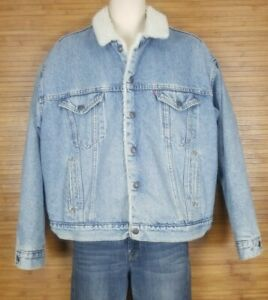 VTG Levis Mens Denim Trucker Jean Jacket sz XL Sherpa Lined USA 70609 San Fran