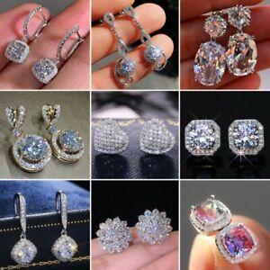 Fashion 925 Silver Cubic Zircon Drop Dangle Earrings Stud Women Wedding Jewelry