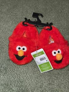 SESAME STREET ELMO TODDLERS SLIPPERS SHOES SIZE 5 RED FUR FABRIC SOLE PLAY NEW