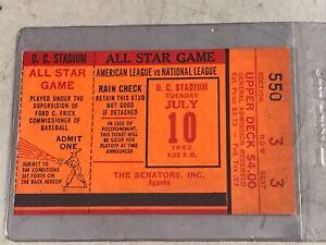 1962 MLB ALL STAR GAME TICKET STUB SECTION 550 ROW 3 SEAT 3 WASHINGTON D.C.