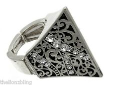 Last One! Hip Hop Stretch Ring Antiqued Silver Pyramid with Crystal Bling
