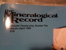 The Mineralogical Record, Very Good Condition, Issue Vol. 29, No. 2, 1998