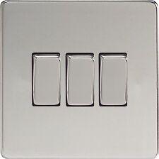 Varilight  3 Gang (Triple), 1 or 2 Way 10 Amp Light Switch, Screwless Rocker