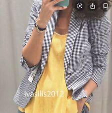 Zara Blue White Gingham Blazer Jacket Size UK8 EU36 Bnwt