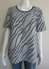NONI Top Size 14 16 Black White Short Sleeve BUY 4 or more items 4 FREE POST