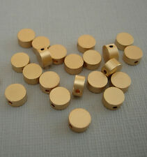 6pcs- Matte Gold Flat Round Beads,  Brass Beads, Beading Jewelry Making(6x3mm).