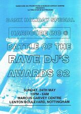 HARDCORE INC Rave Flyer Flyers A4 24/5/92 Marcus Garvey Centre Nottingham