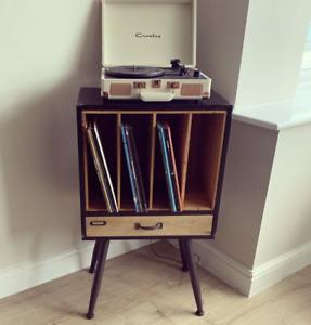 Industrial Hifi Cabinet Retro Stereo Unit Vintage Vinyl Record Storage Furniture