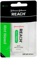 Reach Waxed Dental Floss 200 YD for Plaque & Food Removal Refreshing Mint Flavor