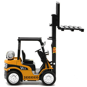 1:24 Forklift Truck Construction Diecast Model Toy Sound Light Vehicle Yellow