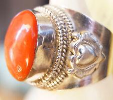 Massiv Dick Silberring 59 Koralle Rot Handarbeit Ring Silber Herz Kordel Antik