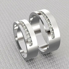 925 Fine Silver Wedding Rings Set 0.34 Ct Diamond His And Her Anniversary Bands