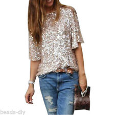 Women Mode Bling Sequin Sparkle Glitter 1/2 Sleeve Coctail Top Blouse T-Shirt UK