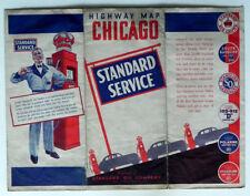 c1940 STANDARD OIL GAS STATION CHICAGO ROAD MAP Wraparound RED CROWN PUMP