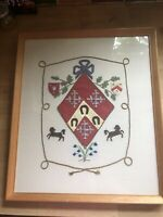 Vintage Framed Tapestry Embroidery Applique of a Heraldic Shield Coat of Arms