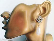 Art Deco Vintage Look Dangle Drop Earrings Teardrop Pearl CLIP ON  GOLD Tone