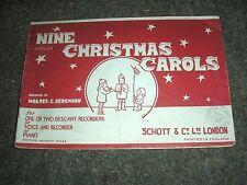 SHEET MUSIC-NINE CHRISTMAS CAROLS RECORDER VOICE PIANO WALTER C. BERGMANN 1947