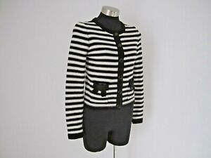 NEW! Target Black and Cream Wool Blend Striped Cardigan Size 10 S M