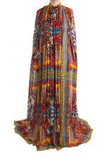 Dolce & Gabbana Multicolor Silk Carretto Cape Kaftan Tunic Long Dress IT40 S