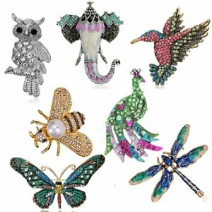 Fashion Crystal Animal Bee Butterfly Owl Enamel Brooch Pin Bouquet Pin Jewelry