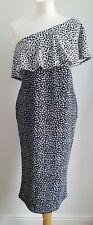 Maternity Boohoo UK 12 One Shoulder Frill Spot Black White Grey Dress Stretch