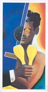 Original Vintage Affiche Razzia Orangina Français Boisson Signé à la Main 1992