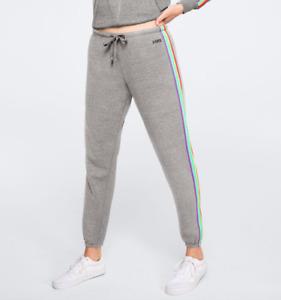 Victoria Secret PINK Pants Womens Authentic Everyday Lounge Gray Rainbow Pride